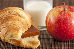 Breakfast with milk apple croissant Royalty Free Stock Photos