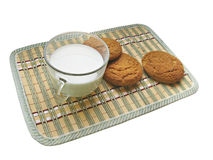 Breakfast with milk and avenaceous thin captain Stock Image