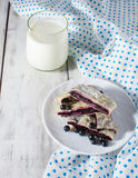 Breakfast with milk and baking. Breakfast with milk and blueberry baking Royalty Free Stock Image