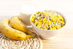 Breakfast milk with bananas Royalty Free Stock Photo