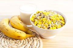 Breakfast milk with bananas Royalty Free Stock Photo