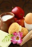 Breakfast with milk , boiled egg sesame buns Stock Images