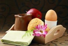 Breakfast with milk , boiled egg sesame buns Stock Photo
