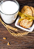 Breakfast with milk and cereal biscuits Stock Images