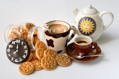 Breakfast. With milk coffee and cookies stock photo