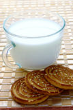 Breakfast of milk and cookies Royalty Free Stock Photos