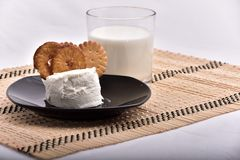Breakfast with milk and cookies stock photography