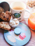 Breakfast with milk and cookies. Sweet soup with juice Stock Photo