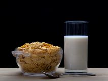 Milk and cornflakes Stock Photos