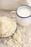 Breakfast with milk and cottage cheese Royalty Free Stock Photos