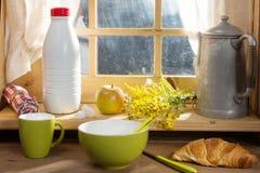 Breakfast with milk, croissant, Stock Photo