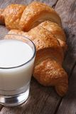 Breakfast: milk and croissants macro. vertical Royalty Free Stock Images