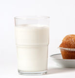 Breakfast milk and cupcake Stock Photo