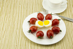 Breakfast milk, egg and tomato, the color is very  Stock Image