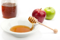 Breakfast with milk, honey and apple Royalty Free Stock Photos