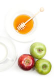 Breakfast with milk, honey and apples Royalty Free Stock Image