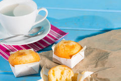 Breakfast with milk and muffins Royalty Free Stock Photos