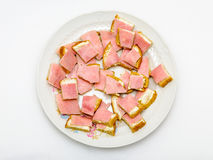 Breakfast mini snack children ham cheese Stock Image