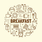 Breakfast minimal thin line icons set. Vector illustration design elements Stock Image