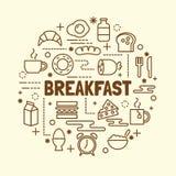 Breakfast minimal thin line icons set Stock Image