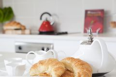 Breakfast in modern kitchen Royalty Free Stock Photo
