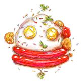 Breakfast morning egg priobyva bazelik with sauces and tomato colored pencils bright drawing by hand sketch on white background. Breakfast morning egg priobyva Stock Photography