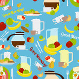 Breakfast morning elements seamless pattern Royalty Free Stock Photography