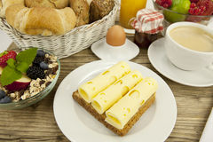 Breakfast in morning with fruits and cheese toast and coffee Royalty Free Stock Images