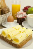 Breakfast in morning with fruits and cheese toast and coffee Royalty Free Stock Photography