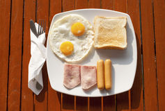 Breakfast in the morning light. Breakfast under the sunlight in the morning Stock Photos