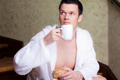 Breakfast morning man Stock Photography