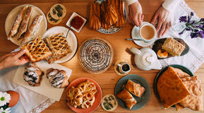 Breakfast. Morning table with pastry. Yekaterinburg stock photos