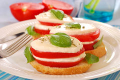 Breakfast with mozzarella and tomato Stock Photo