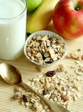 Breakfast, muesli apple and glass of milk Royalty Free Stock Photos