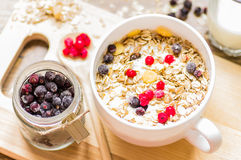 Breakfast muesli with berries Royalty Free Stock Images