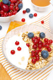 Breakfast - muesli with berries, yogurt, honey and milk, closeup Stock Image