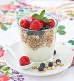 Breakfast with muesli Royalty Free Stock Photography