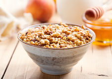 Breakfast with muesli and fruits Royalty Free Stock Images