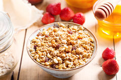 Breakfast with muesli and fruits Royalty Free Stock Photos