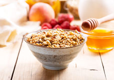Breakfast with muesli and fruits Royalty Free Stock Image