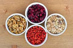 Breakfast muesli, goji berries, walnuts, berries Royalty Free Stock Photo