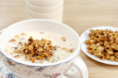 Breakfast - Muesli with milk Stock Photo