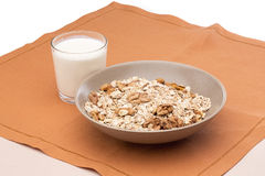 Breakfast of muesli and milk Stock Images