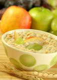 Breakfast. Muesli with milk and fruit. Royalty Free Stock Image