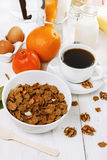 Breakfast with muesli over white wooden background Stock Photo