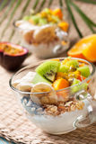 Breakfast with muesli, yoghurt, tropical fruits Stock Image