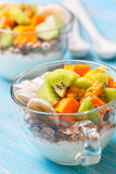 Breakfast with muesli, yoghurt, tropical fruits Stock Image