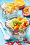 Breakfast with muesli, yoghurt, tropical fruits, goji berries stock photo