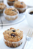 Breakfast muffin with coffee. Healthy wholewheat bran muffin, a nutritious and fibre rich breakfast Royalty Free Stock Photo