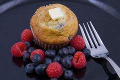 Breakfast muffins & berries Royalty Free Stock Image